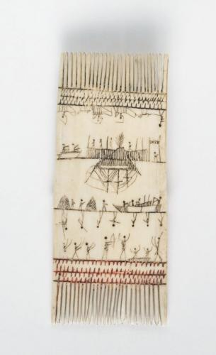 Picture 1: From the Inupiaq People of Alaska: Comb with painted scenes, 1850–1890, Walrus Tusk And Pigment. H: 4 7/8 in. W: 2 in.