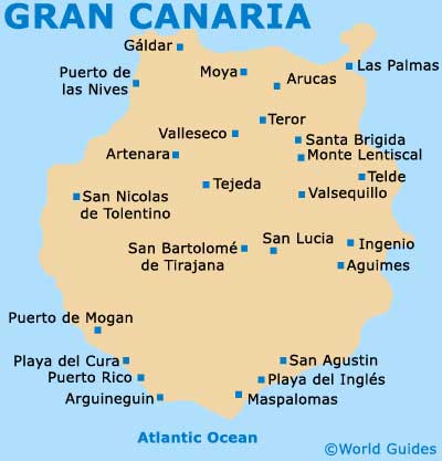 Map of Gran Canaria showing location of Telde